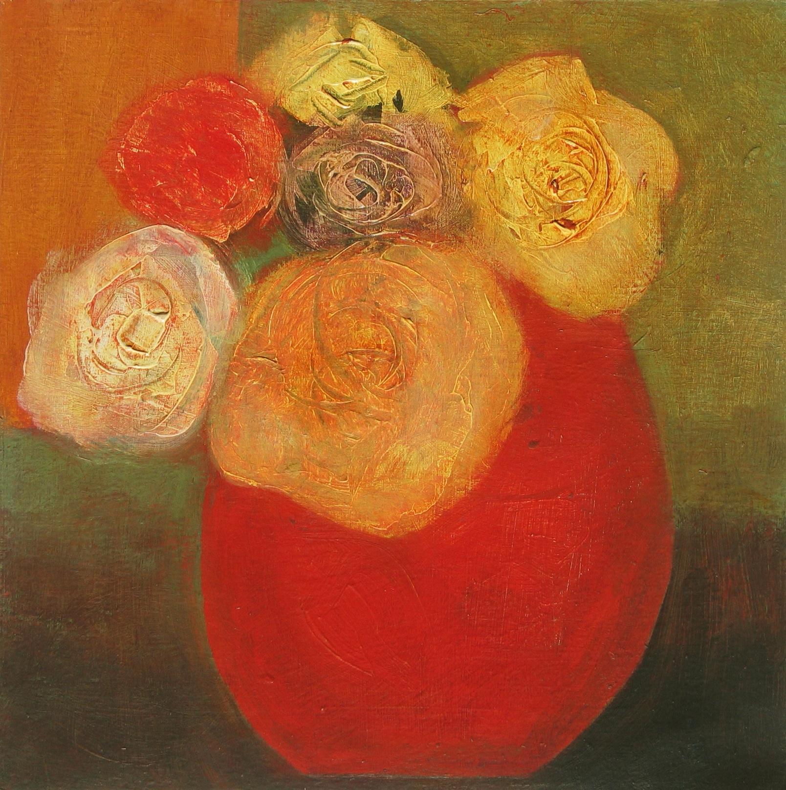 Roses in Red Pot, 25cm x 25cm, 201