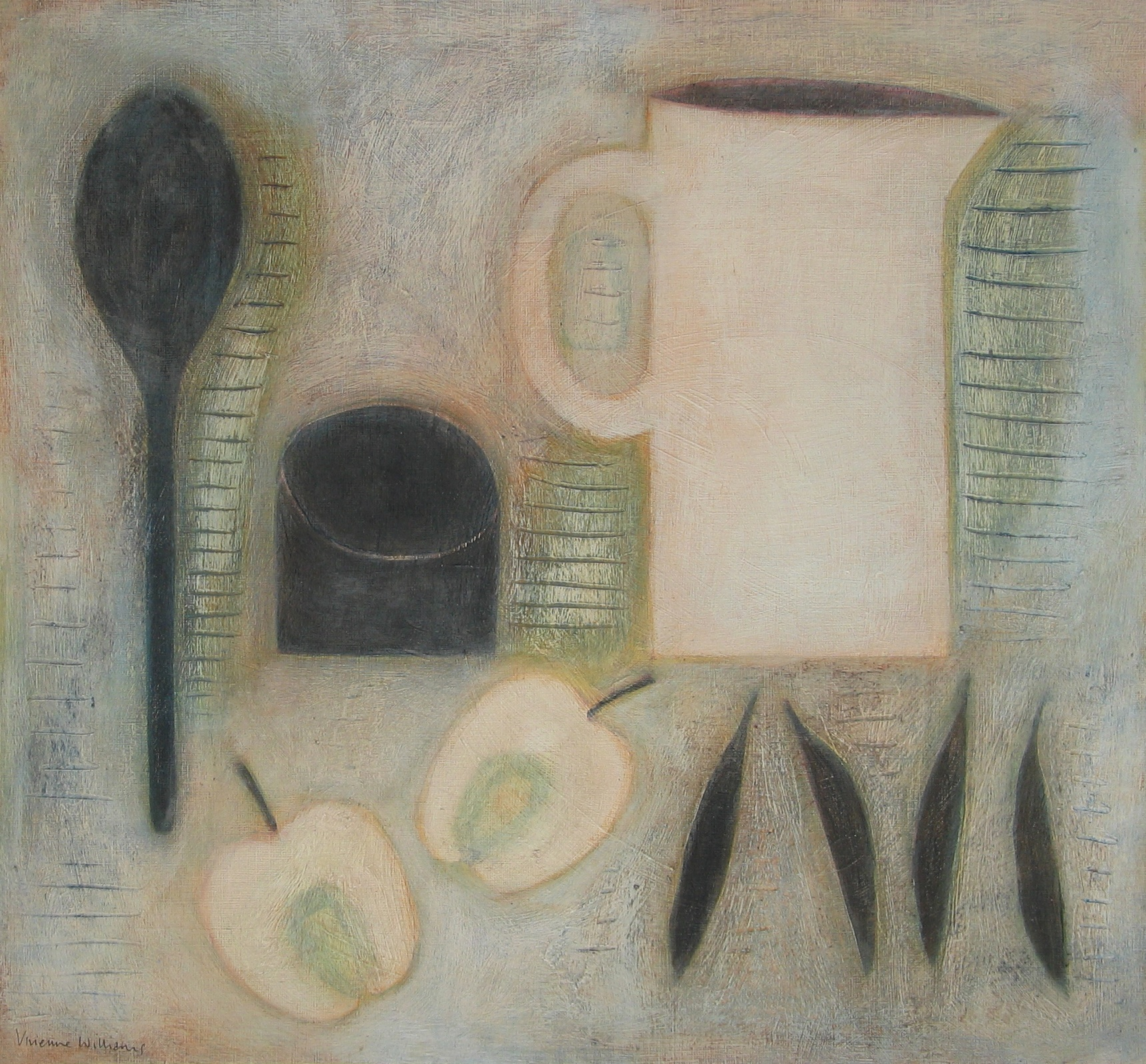 Jug, Apple, Peas and Spoon, 40.5cm x 43.5cm, 2012