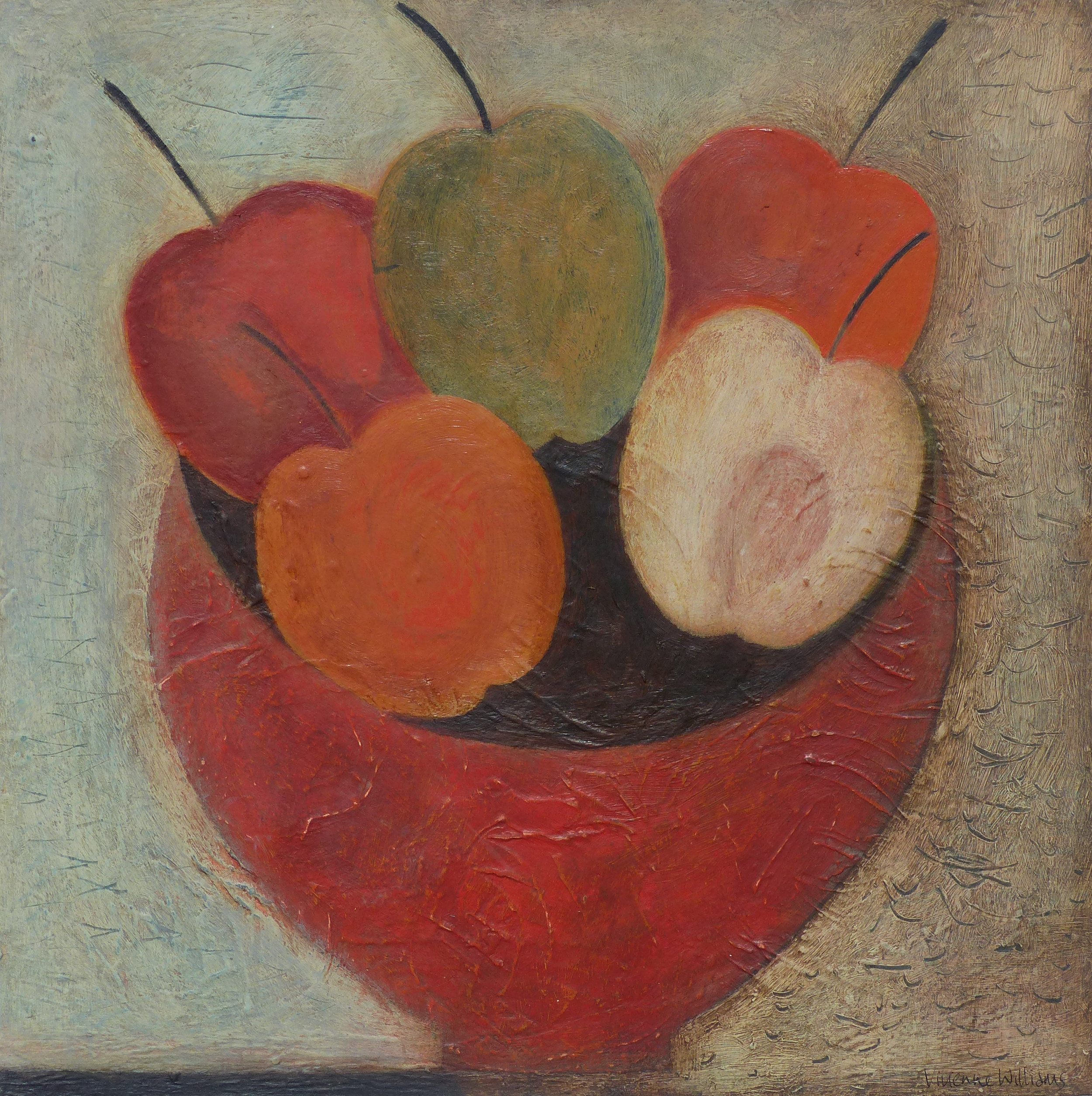 Apples in Red Bowl, 30.5cm x 30.5cm, 2016