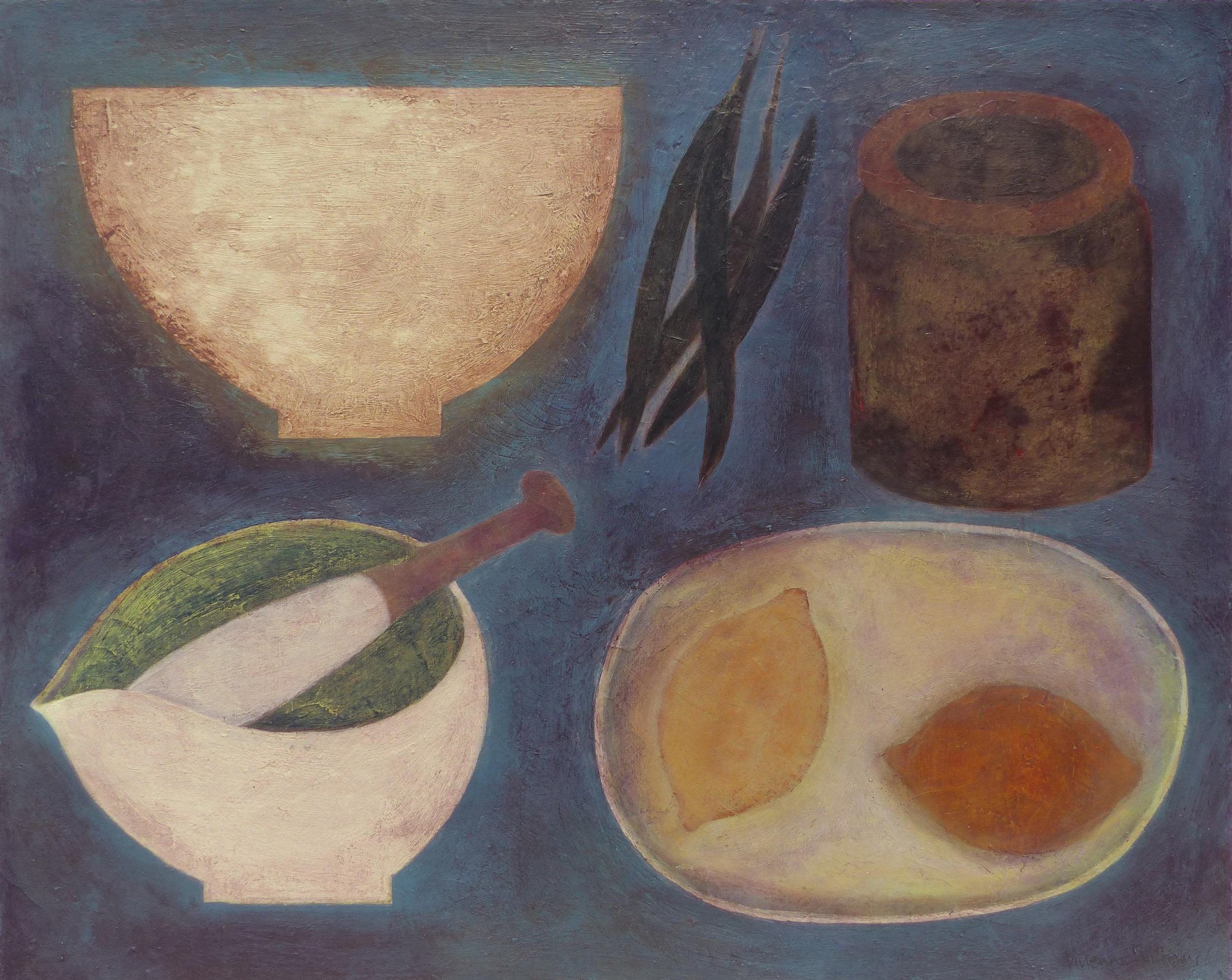 Cornish Kitchen with Lemons, 41cm x 51cm, 2018