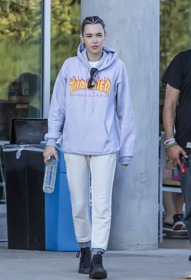 Model Sarah Snyder keepin' it casual in her Thrasher hoodie.
