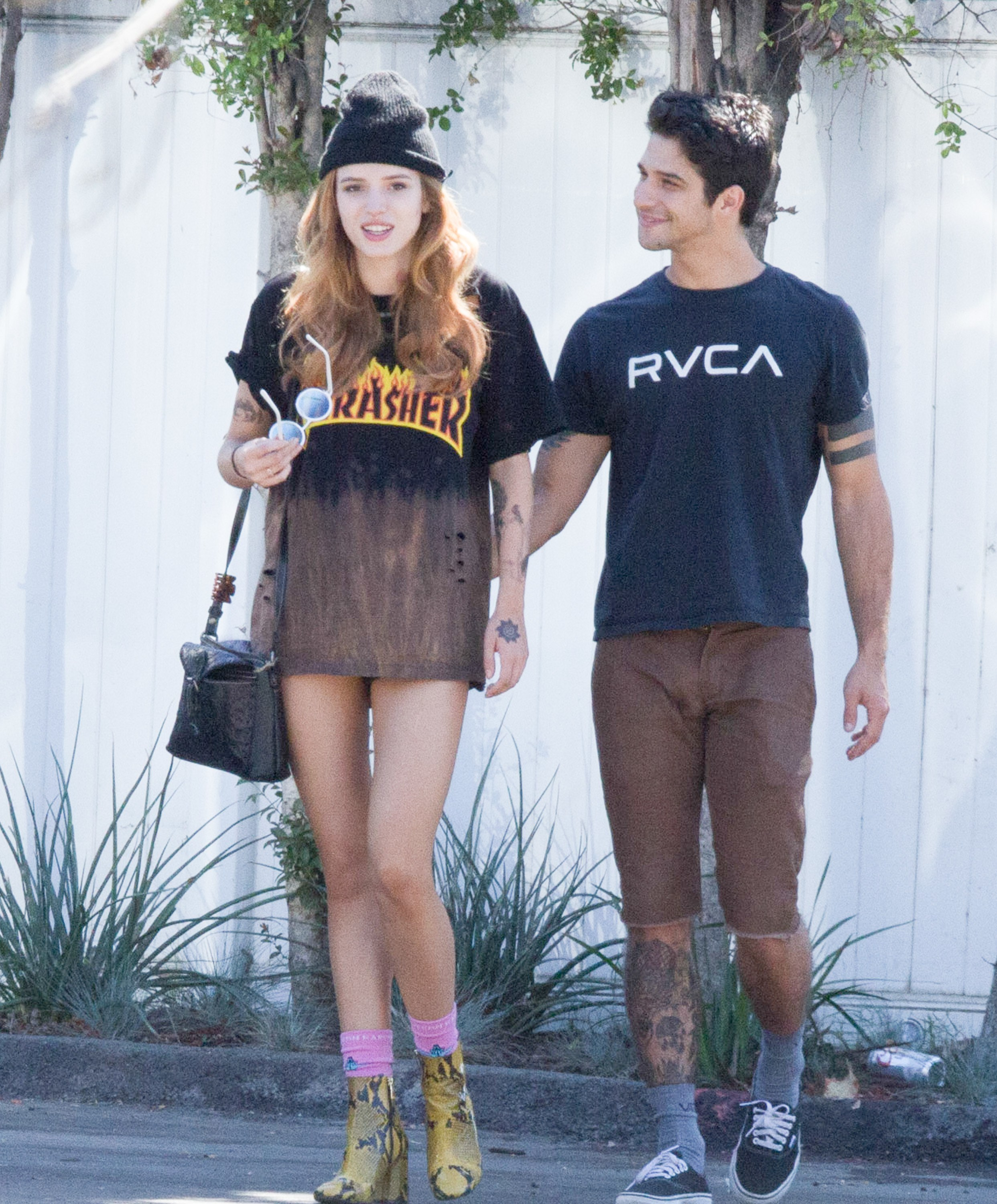 Actress Bell Thorne wearing her Thrasher tee as a dress...ooh la la.