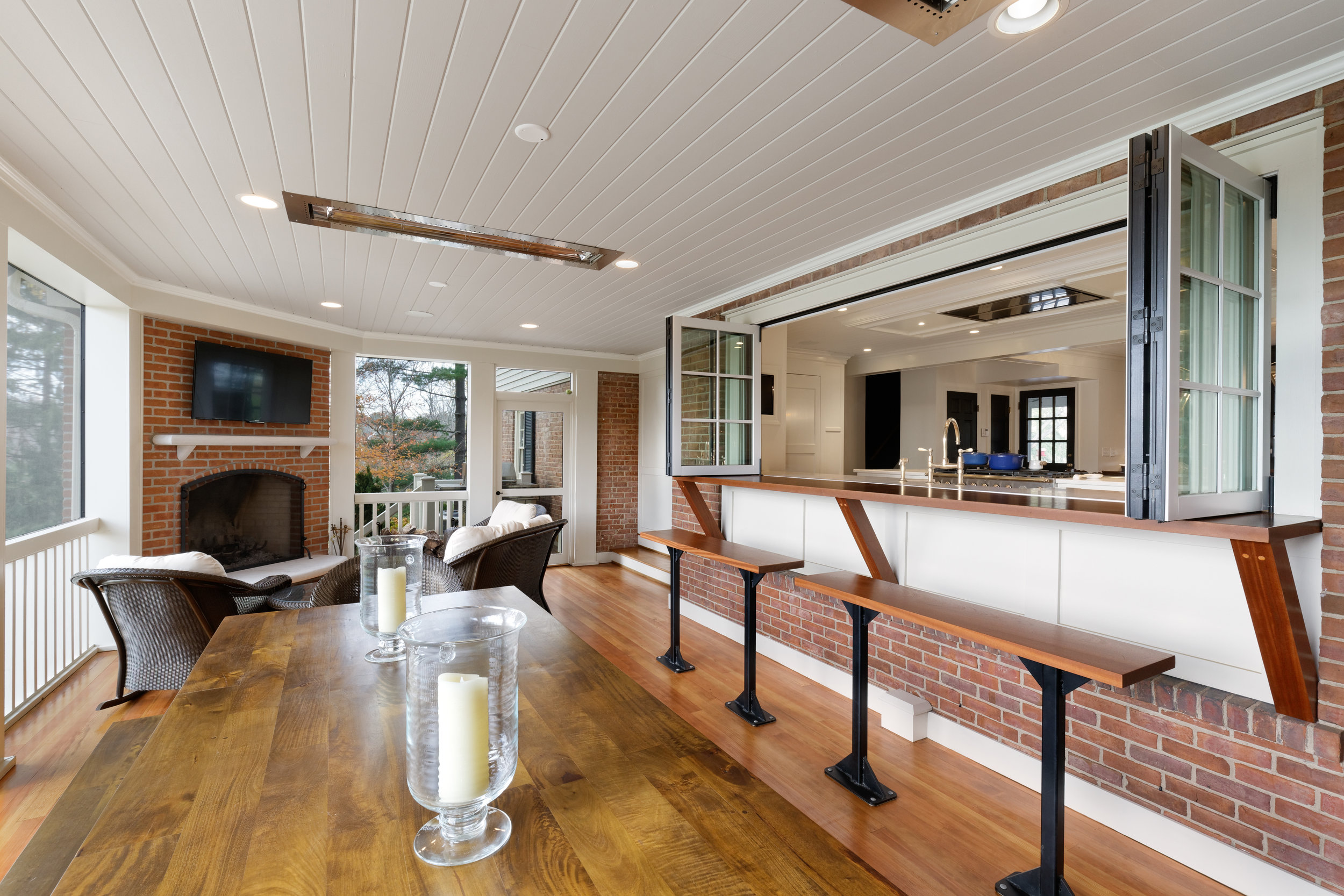 Covered Porch with Ceiling Heat and Pass-thru from Kitchen