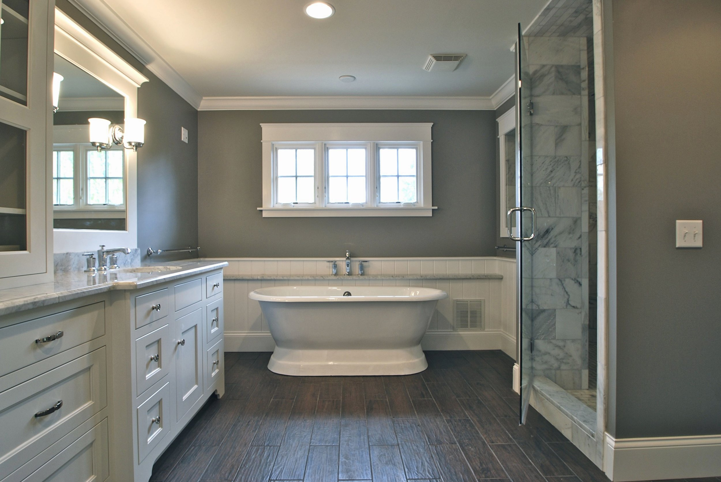 Master Bath with Rustic Flooring