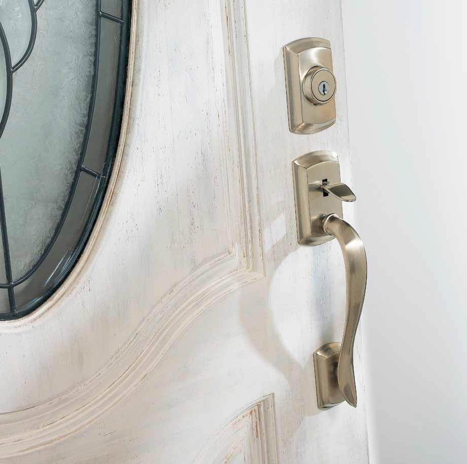 Avalon keyed lock in satin nickel by Weiser