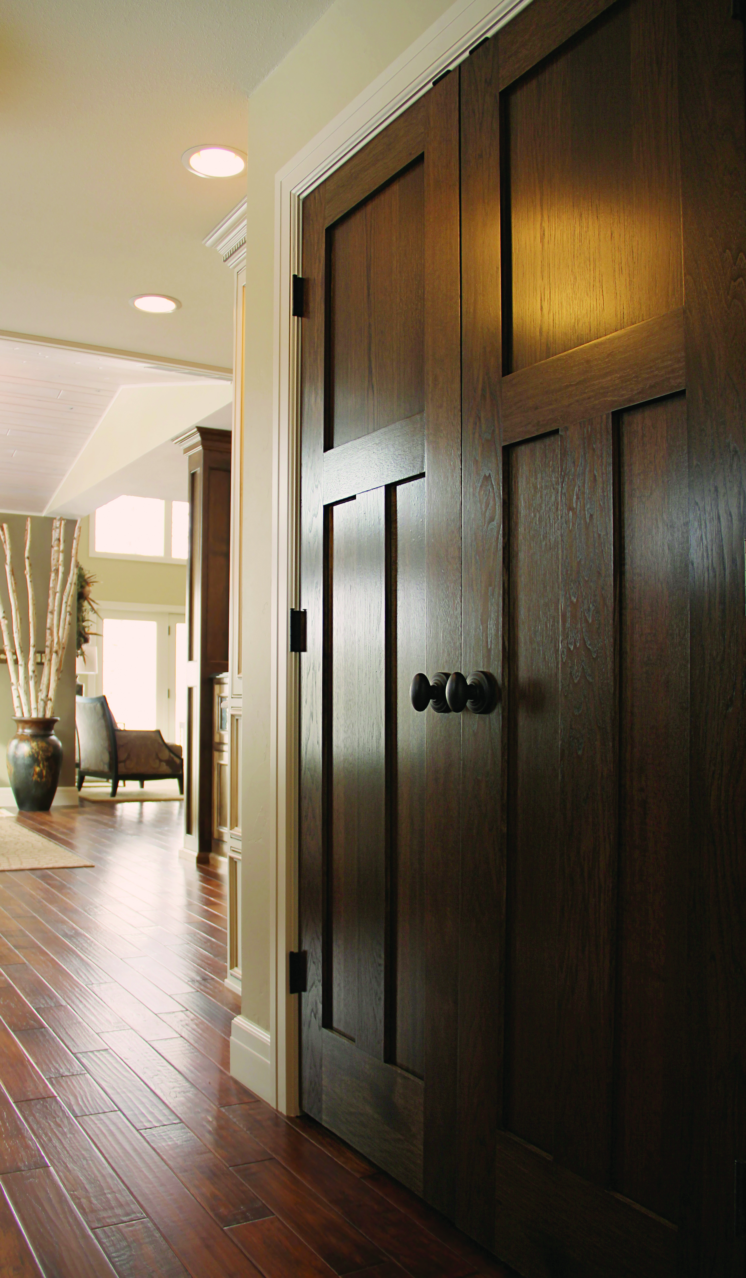 Stained 3-Panel Mission Shaker Doors with Schlage Siena Knob/Andover Rose in Aged Bronze