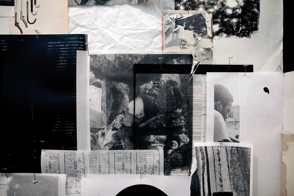 Indices & Marginalia  (detail), 2015 Installation of found materials, xeroxed archival matter, fabric, wooden frames, self-authored texts, prints, newspaper clippings, magazines, books, etc., dimensions variable.Presented at Weeksville Heritage Center