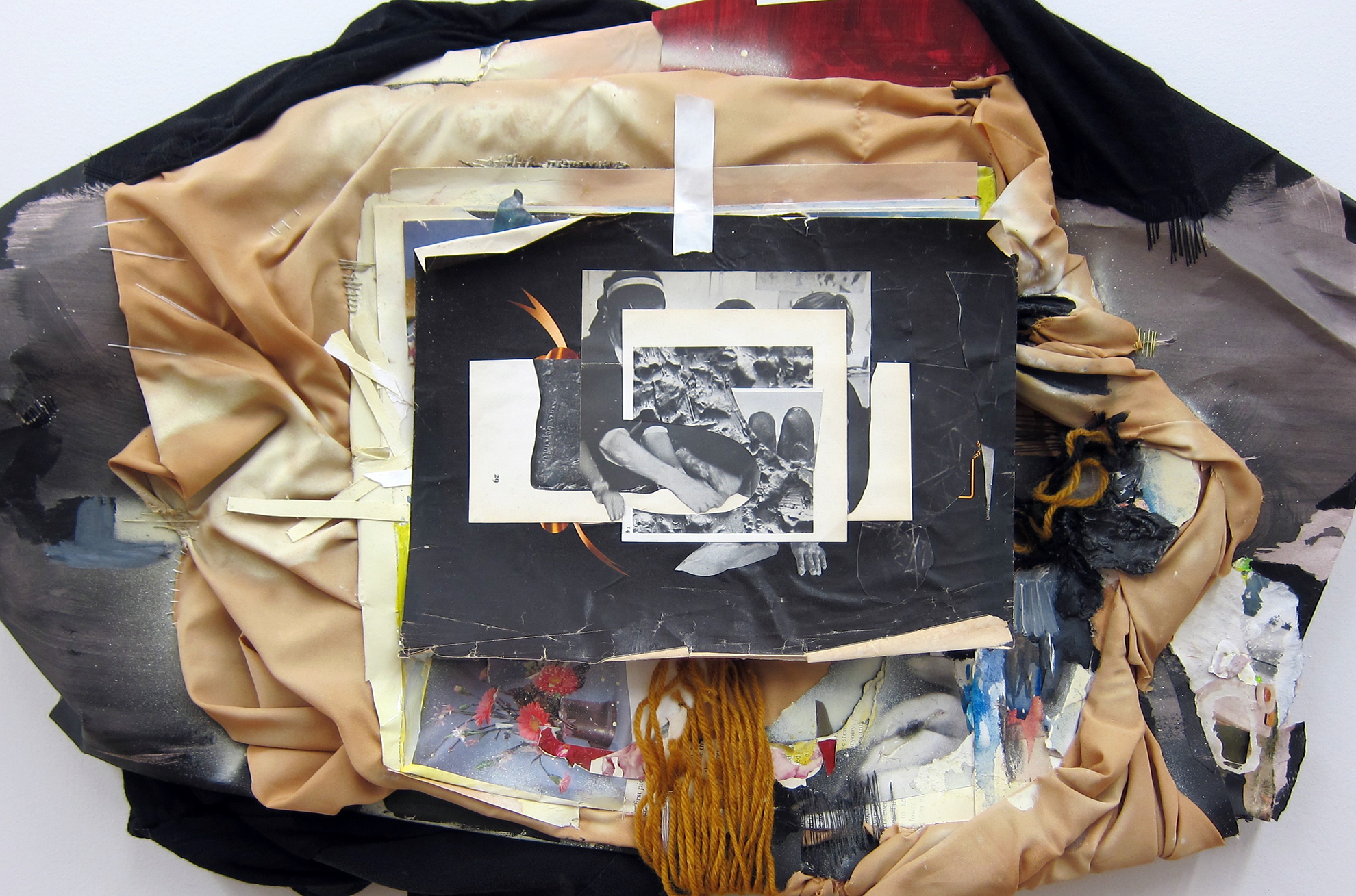 Remains (Keep It Together)  (Detail), 2015, Fabric, collage, acrylic, spray-paint, thread, string, UV glaze, frames, 82 x 63 x 4 inches