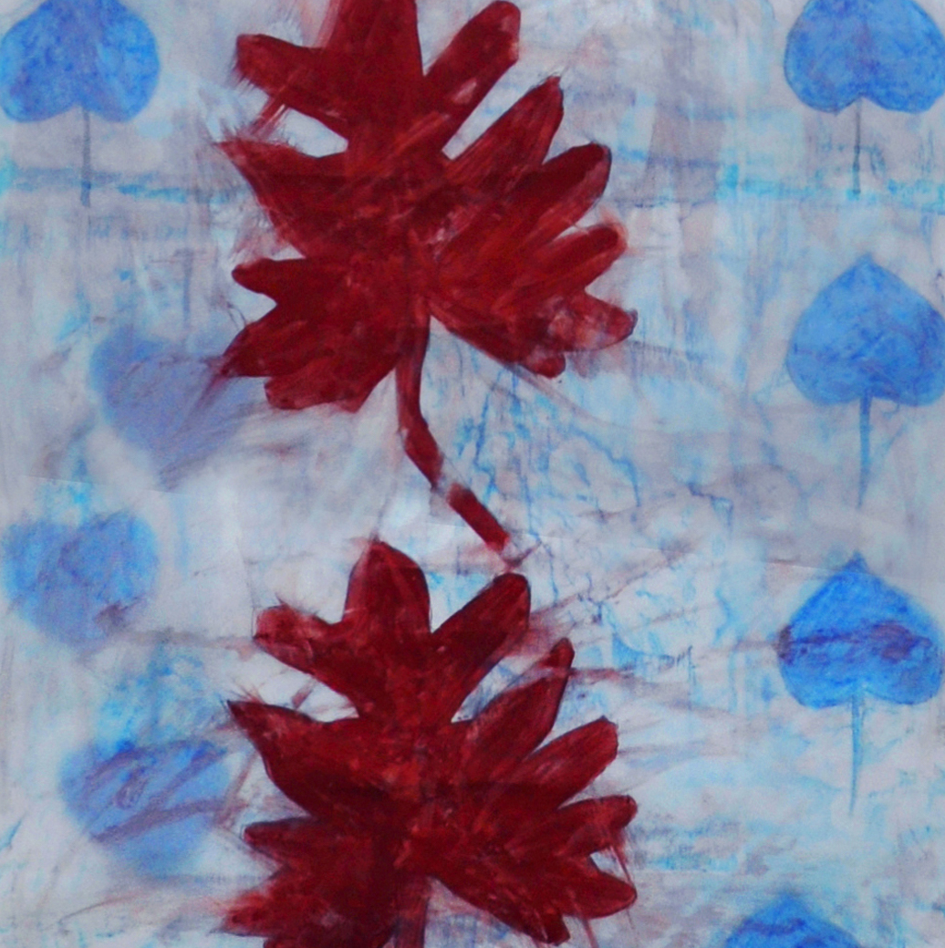 Seven Central Leaves ,2013, rubbing, collage, oil pastel, paint, pencil on mylar, 91 x 24 inches