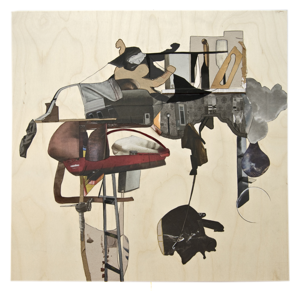 Vessel#4 , 2015, Collage and mixed-media on wood panel, 24 x 24 inches