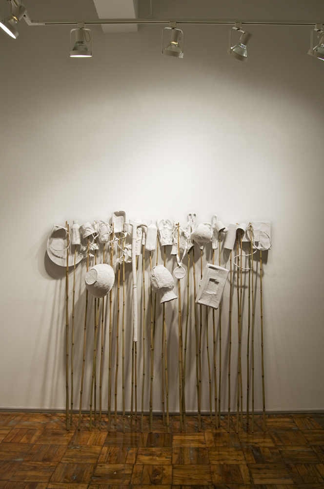 Mementos , 2015 Papier-mache objects on bamboo sticks, dimensions variable