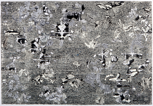 apokalupsis eschaton , 2010 Wood rubbing, ink, copies, silver film, 40 x 10 inches