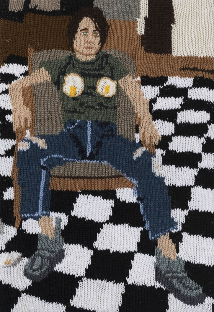 Feminist Fan # 9 (Sarah Lucas, Self Portrait with Fried Eggs, 1996) , 2015. Hand knitted wool and acrylic yarns, canvas and timber, 22 x 15 inches