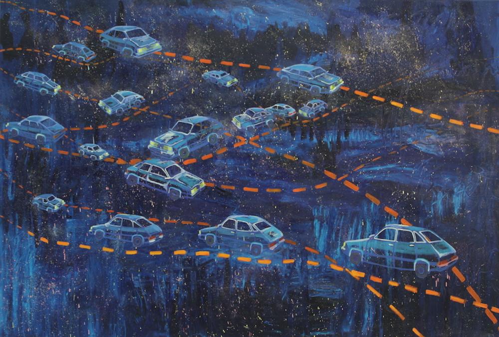 Lifeline Painting V: Endless , 2015, Oil on canvas, 5 x 7.5 feet