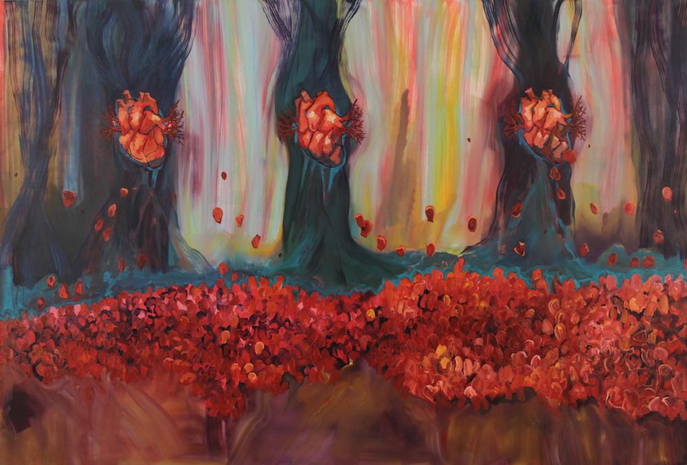 Lifeline Painting VI: Three Loves , 2015, Oil on canvas, 5 x 7.5 feet