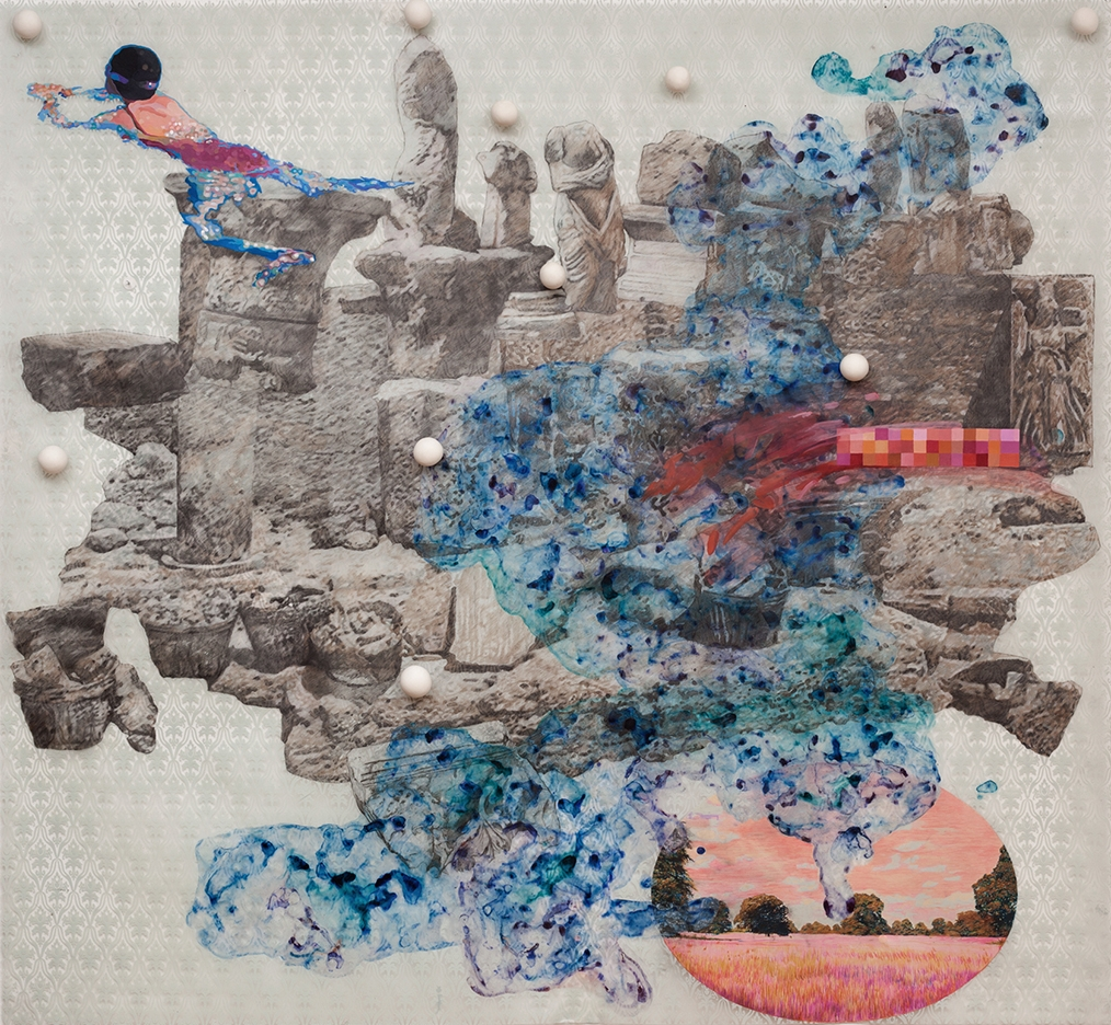 overtaken , 2011, Mixed media drawing on acetate with polymer clay balls, 46 x 50 inches