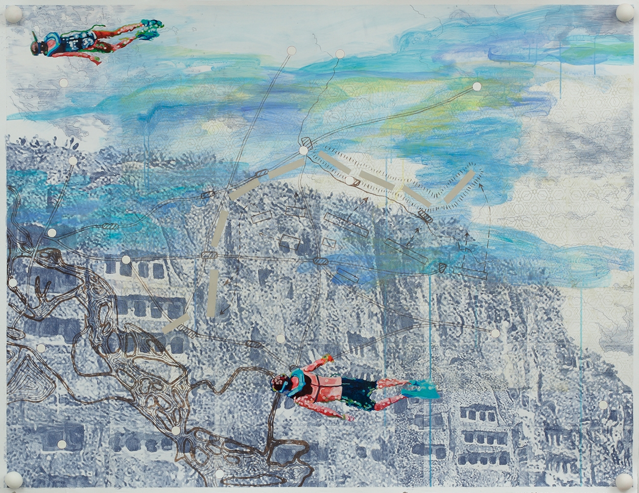 Reconstruction , 2011, Mixed media drawing on paper with polymer clay balls, 48 x 60 inches