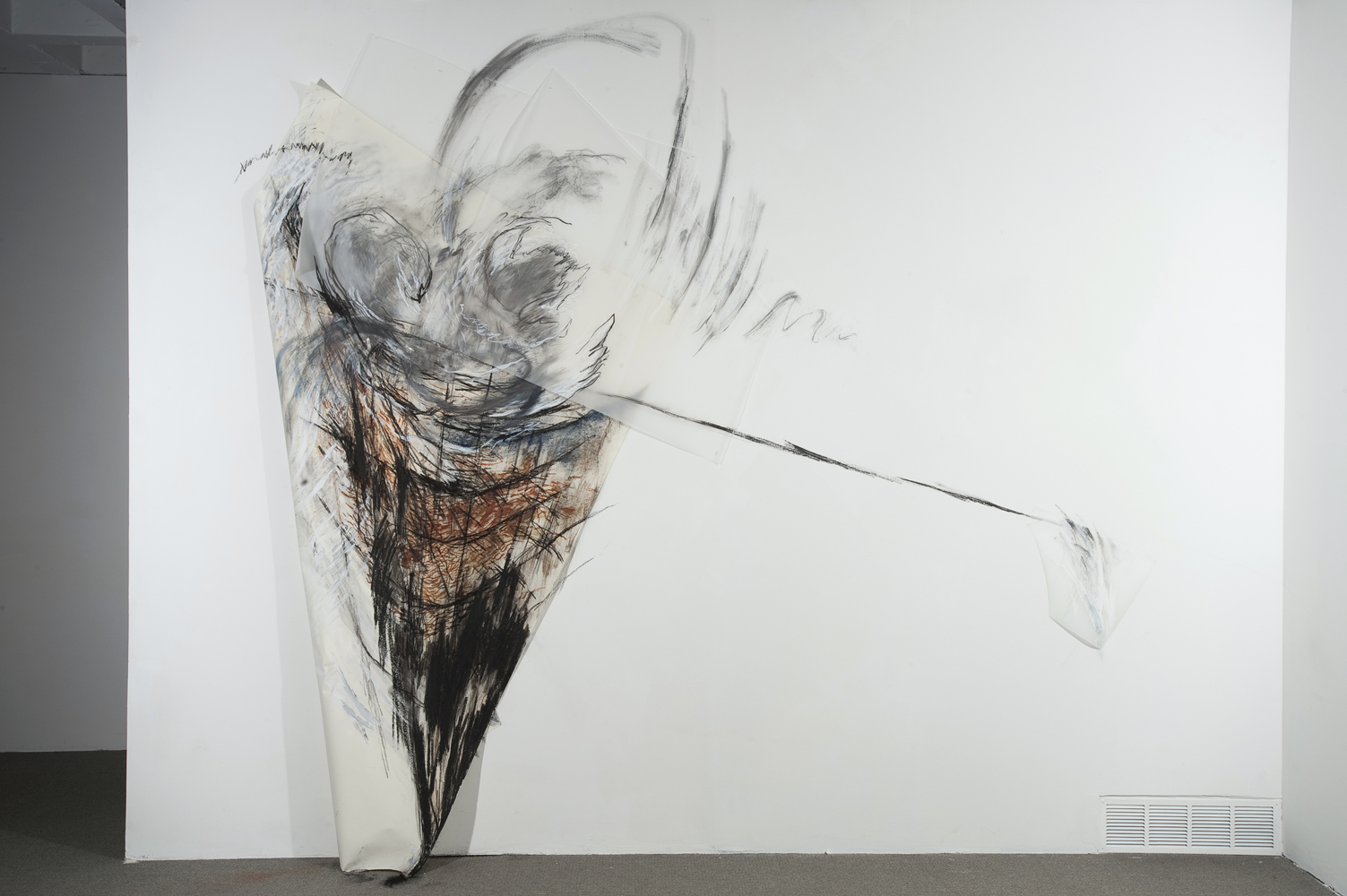 Prickly Wrap , 2010, Graphite, pastel oil bar on paper and mylar, 118 x 132 inches