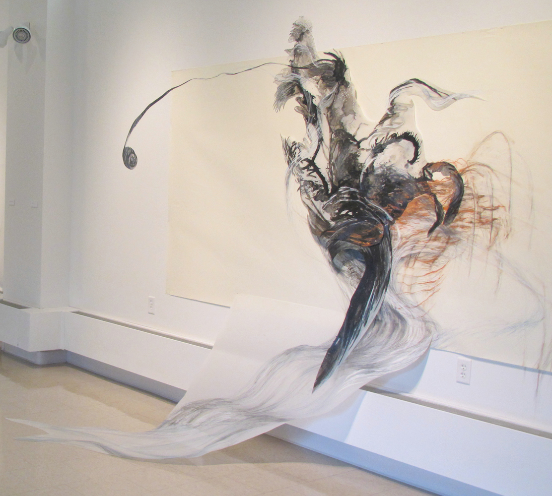 Chimera , 2011, Graphite, pastel, oil bar on paper and mylar, 80 x 160 x 50 inches