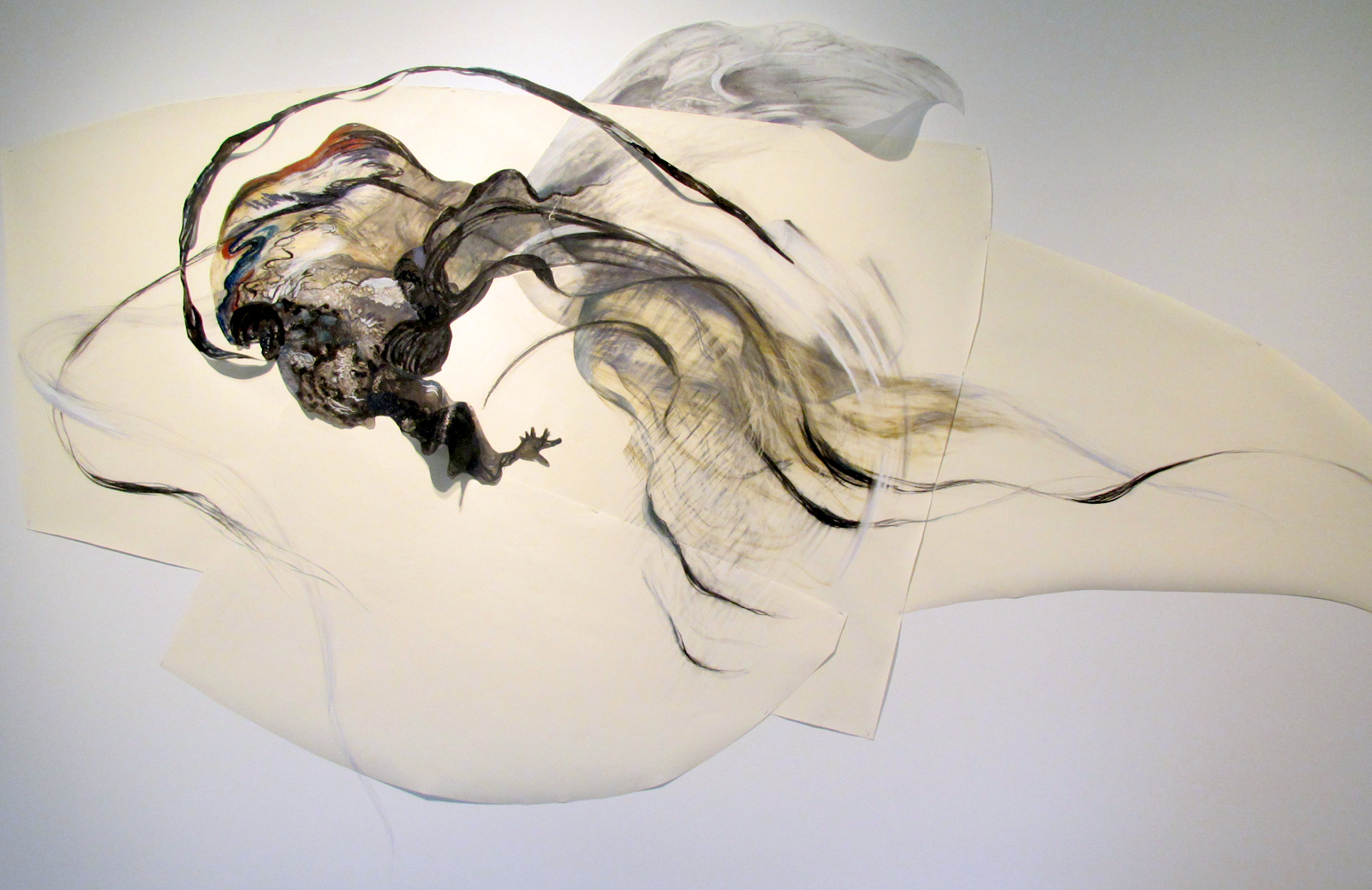 Catclysm , 2012, Graphite, pastel, oil bar on paper and mylar, 80 x 150 inches