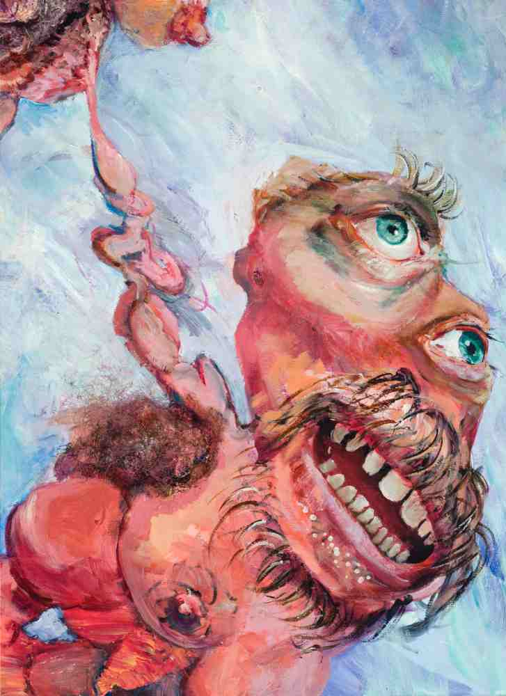 Mabel the Bearded Lady (detail), 2013, Oil, ink, teeth, hair on canvas, 60 x 40 inches