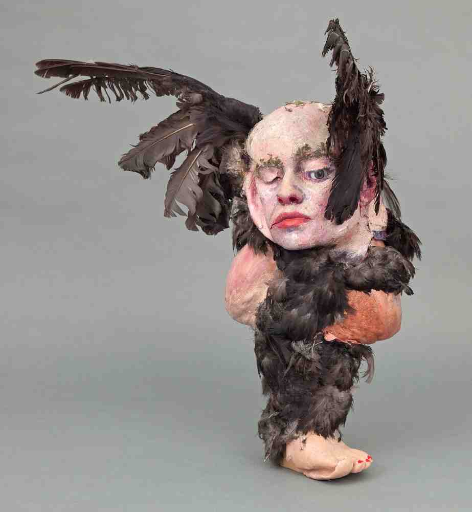 Flying Ravenna , 2013, Silicone, prosthetic, feathers, wire, acrylic, 25 x 27 x 16 inches
