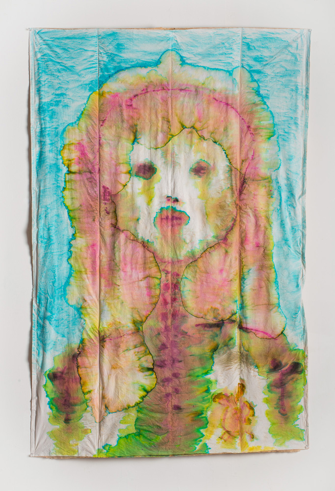 """Your Heinous , 2013, Food coloring on """"Pac Pads"""", 6 x 4 feet"""