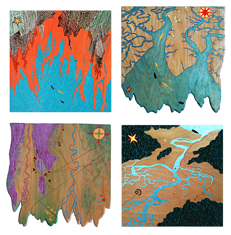 """Escorting the Golden Ship to the Lava Fields"", ""Heading for the Golden Village"", ""3 Villages, isolated"", ""The Dinghy Seeks the Campsite"", all  2015, mixed media on wood, each 9 - 10"" square"