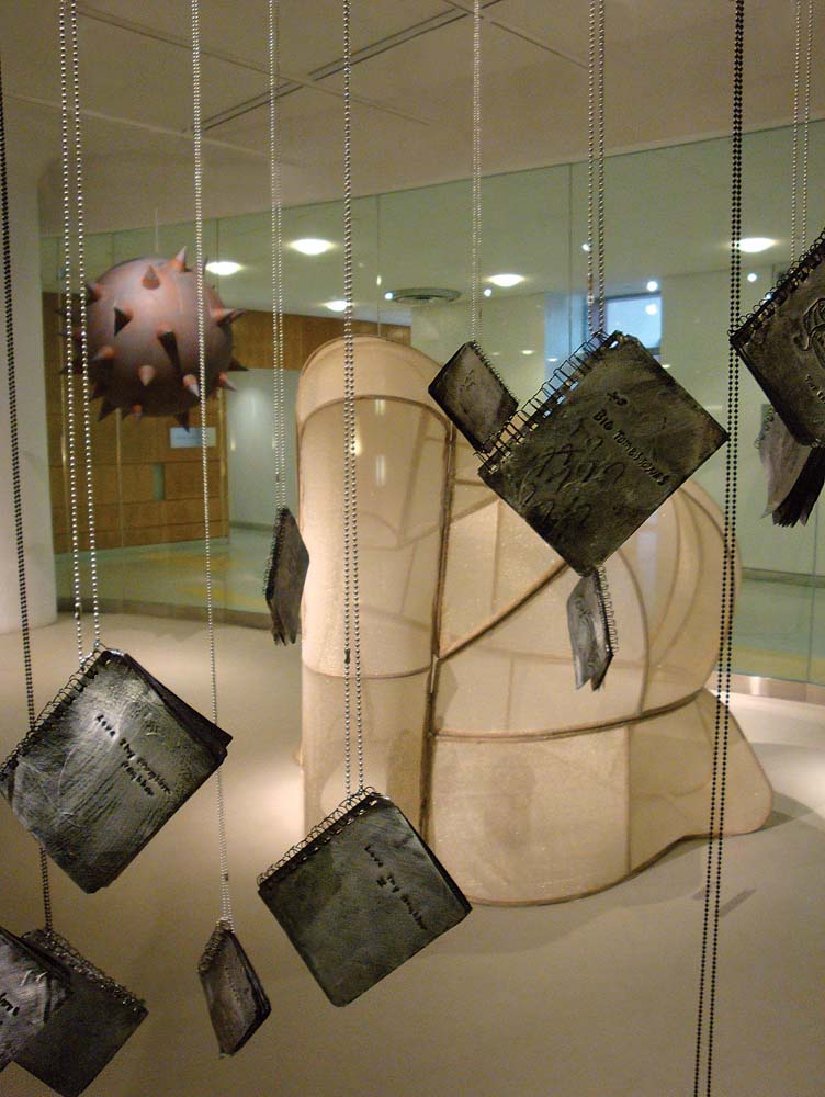 The Architecture of Migration: I'll be back for the cat , 2010, mixed media installation with artists books, LIU Brooklyn, 14 f.t x40 ft. x 25 ft.