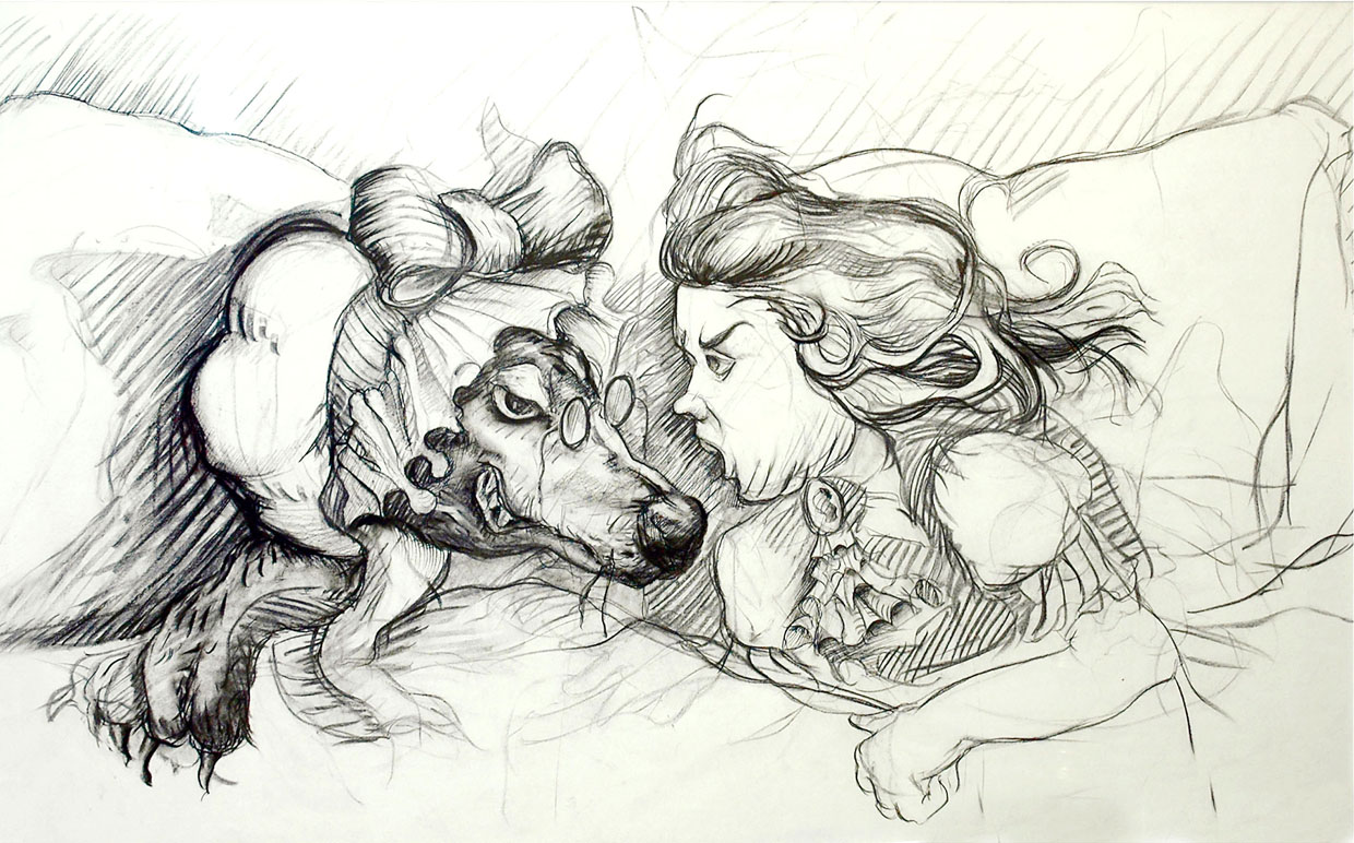 Little Red Riding Hood Series: You're Not Grandma! , 1996, Charcoal on paper, 40 x 50 inches