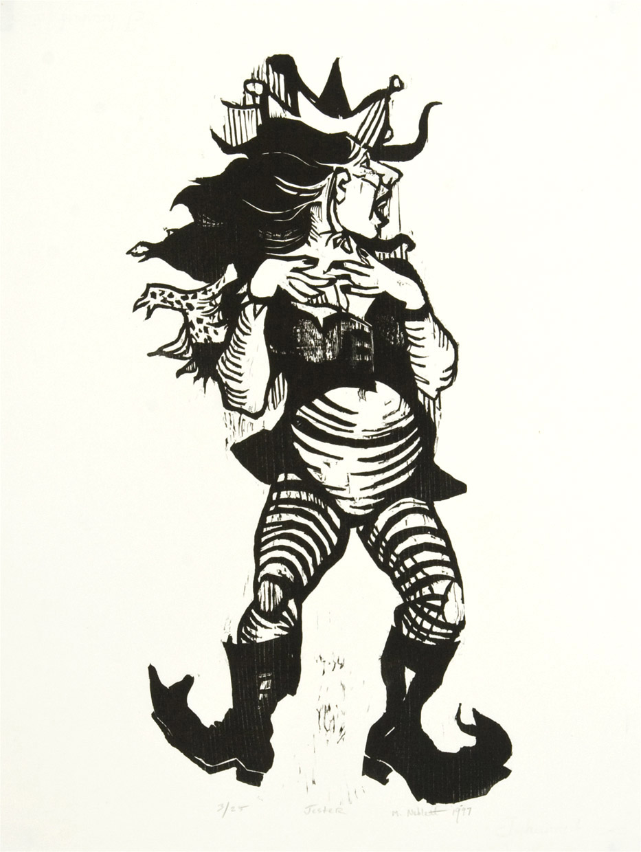 Jester , 1997, Woodcut, 30 x 20 inches