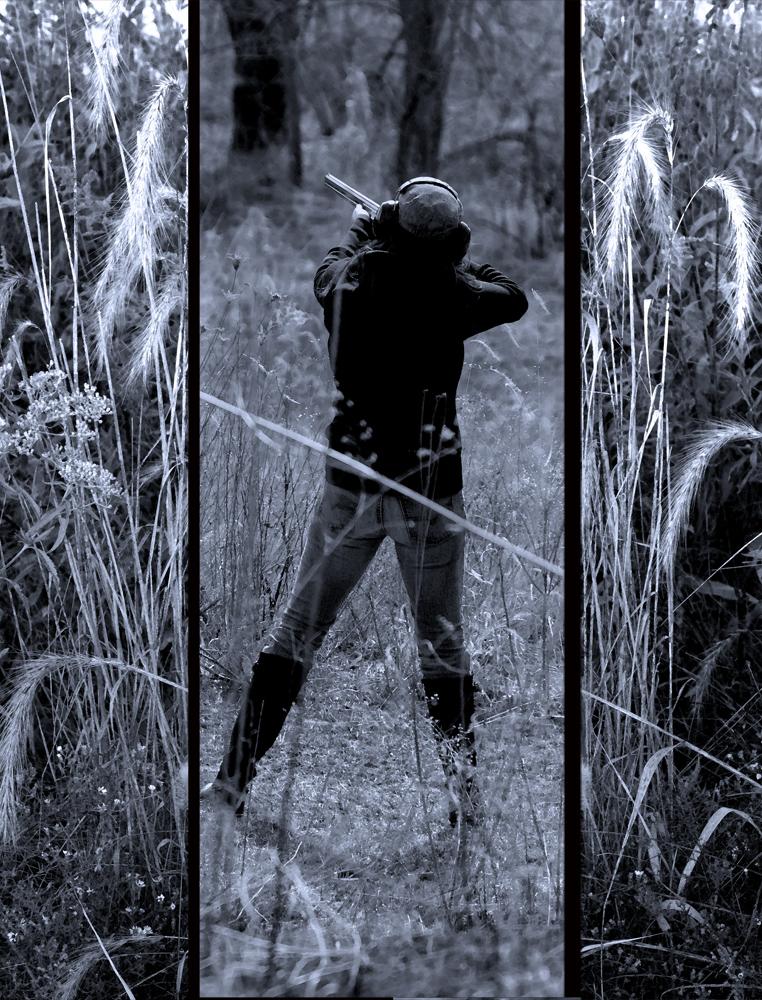 Shotgun Practice in the Prairie ,2011, Digital photo composite, cyan toned, Epson print on laminated film, 65 x 50 inches
