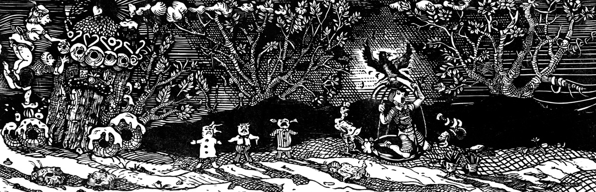 Hansel and Gretel: The Candy House and other Treats , 2000, Woodcut, 11 x 33 inches