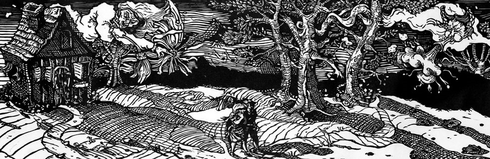 Hansel and Gretel: Into the woods , 2000, Woodcut, 11 x 33 inches