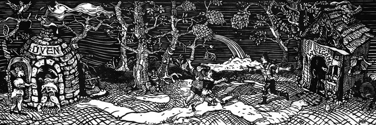 Hansel and Gretel: Home Sweet Home , 2000, Woodcut, 11 x 33 inches