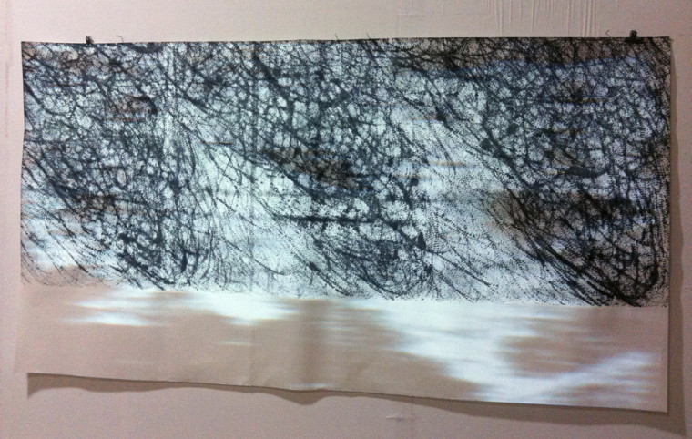 Our Leftovers , 2013, Video, chinese ink, rice paper, 97 x 180 centimeters