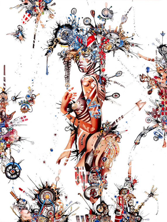 Coronation of the Dialetical Spin , 2013, Magazine cut out, archival prints, adhesive ink, paper, panel and varnish, 48 x 36 inches