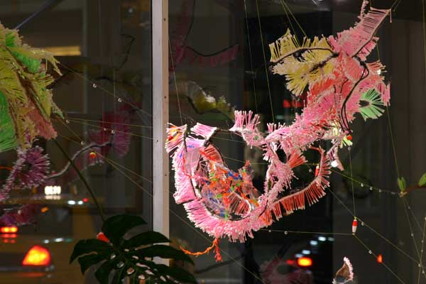 Dragon Butterfly ,2005, Wood, stone, Q-tips, paint, faux leaves, bamboo, wire, and glue, Dimensions variable