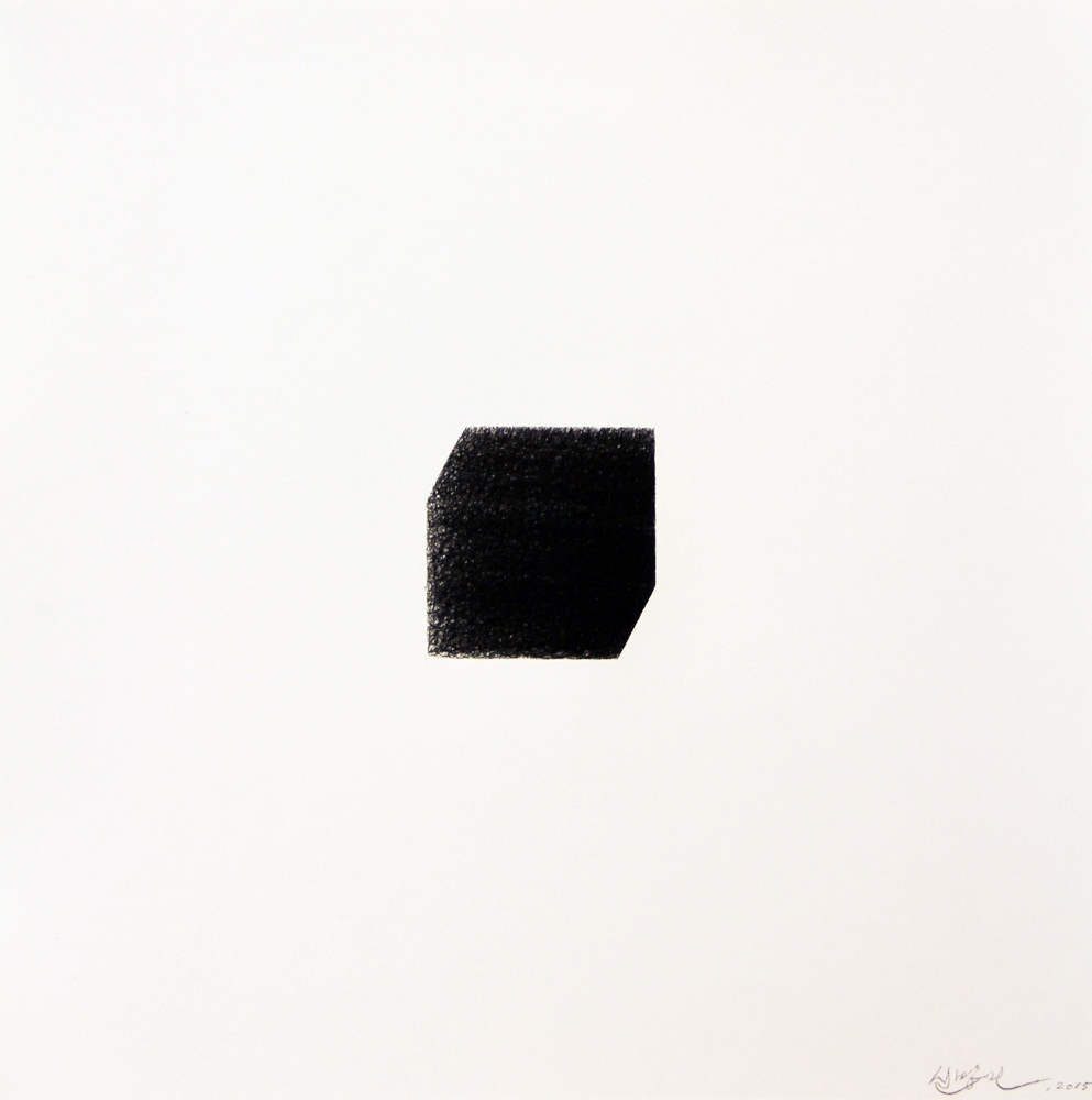 Cube II , 2015, Stonegenge, carbon paper, 16 x 16 inches