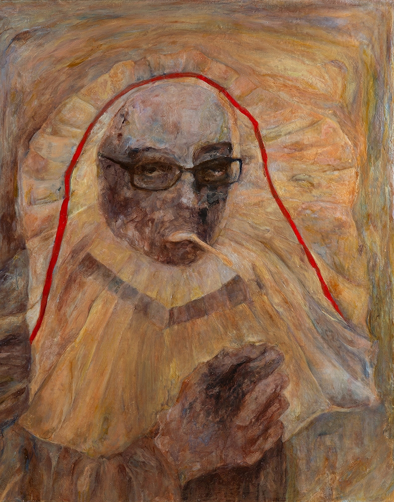 Smoking with Pleated Headdress , 2015, Oil on linen, 23 x 19 inches
