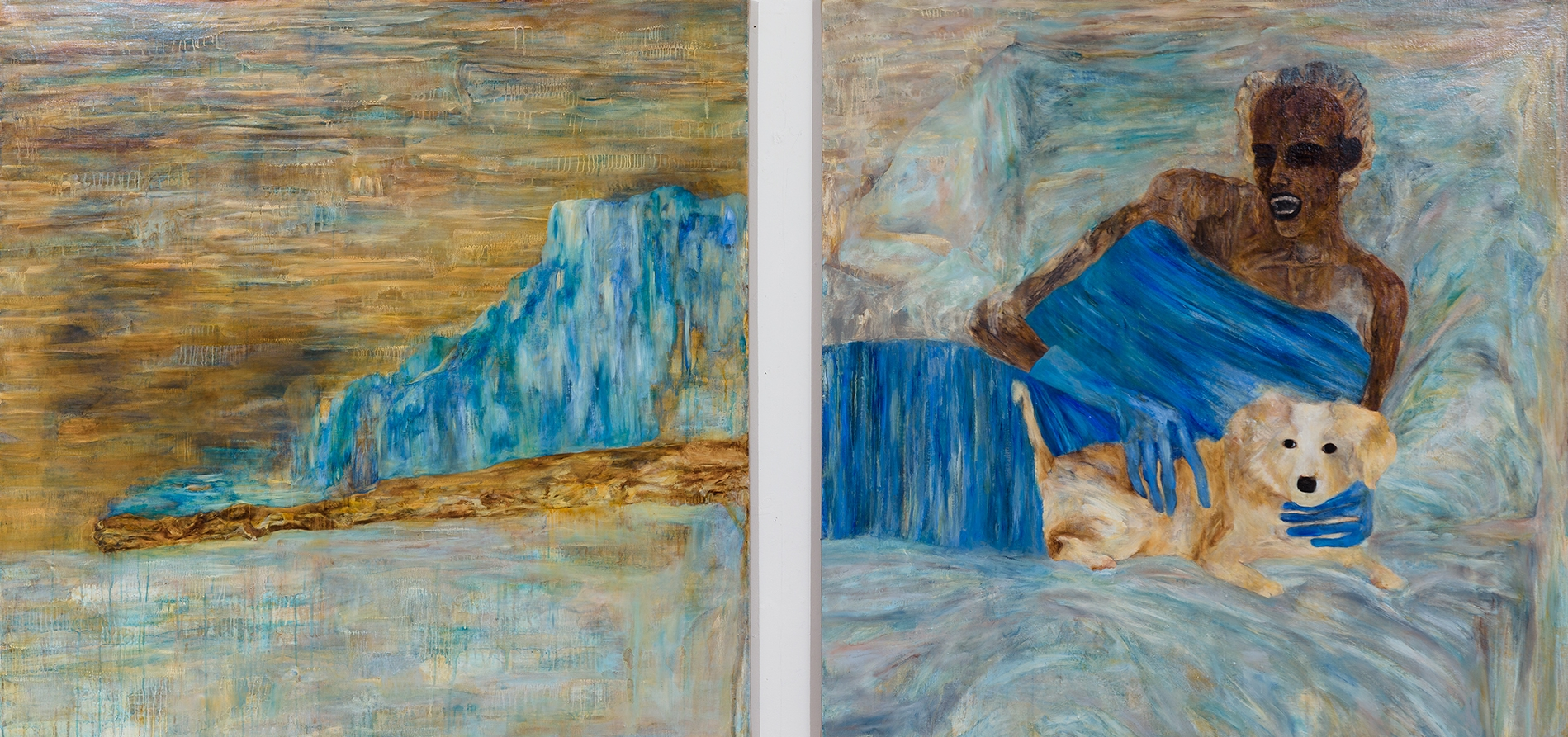 Comfort Animal (diptych), 2015, Oil on linen, 54 x 114 inches