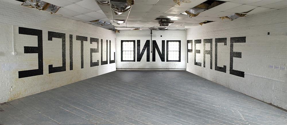No Justice, No Peace , 2015, Hudson Valley Centre for Contemporary Art, Peekskill NY, Latex paint on wall, 80 x 12 feet