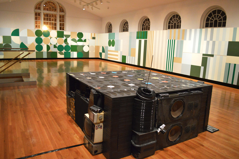 Stacks , 2012, Southern Alberta Gallery, Lethbridge AB, Latex paint, reclaimed electronics, Painting 100 x 7 feet, Sculpture 51 x 60 x 60 inches