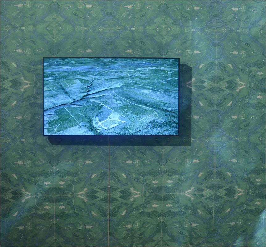 Logging Roads of New Brunswick , 2015, Beaverbrook Art Gallery, Fredericton NB, Four-layer silkscreen on newsprint (edition of 200), wheat paste, video, 15 x 45 feet