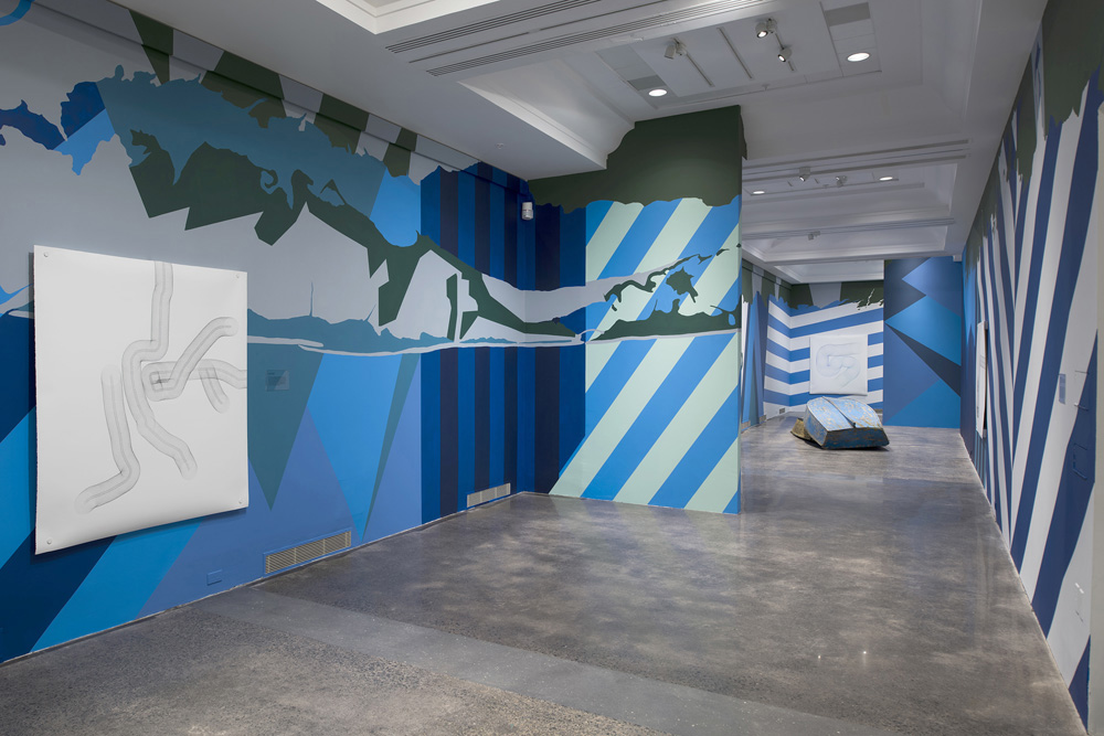 Dark Utopian , 2015, Art Gallery of Nova Scotia, Reclaimed electronics, colored pencil on paper, found boats, video, sound, 168 x 12 feet