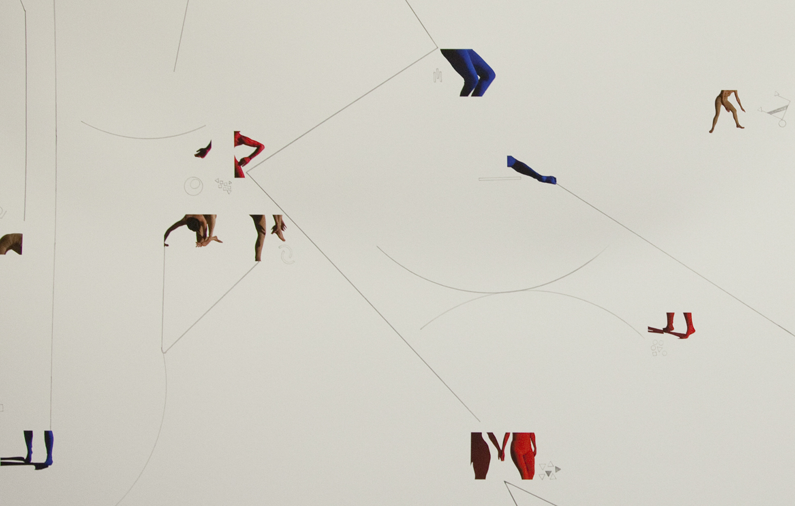 Detail of  Infinite Game (score for multiple dancers) , 2013, Inkjet print and pencil on paper, 44 x 72 inches