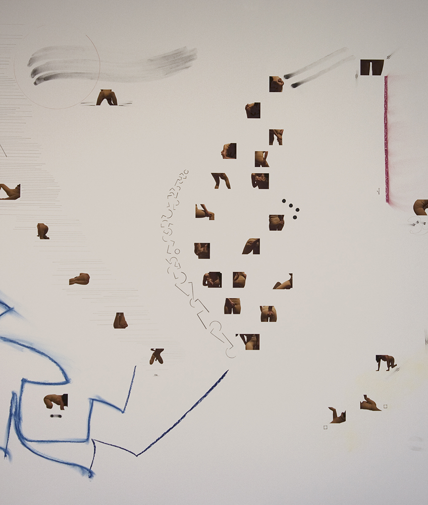 Detail of  Beaver (score for one dancer) , 2013, Pencil, pen, charcoal, and inkjet print on paper, 44 x 80 inches