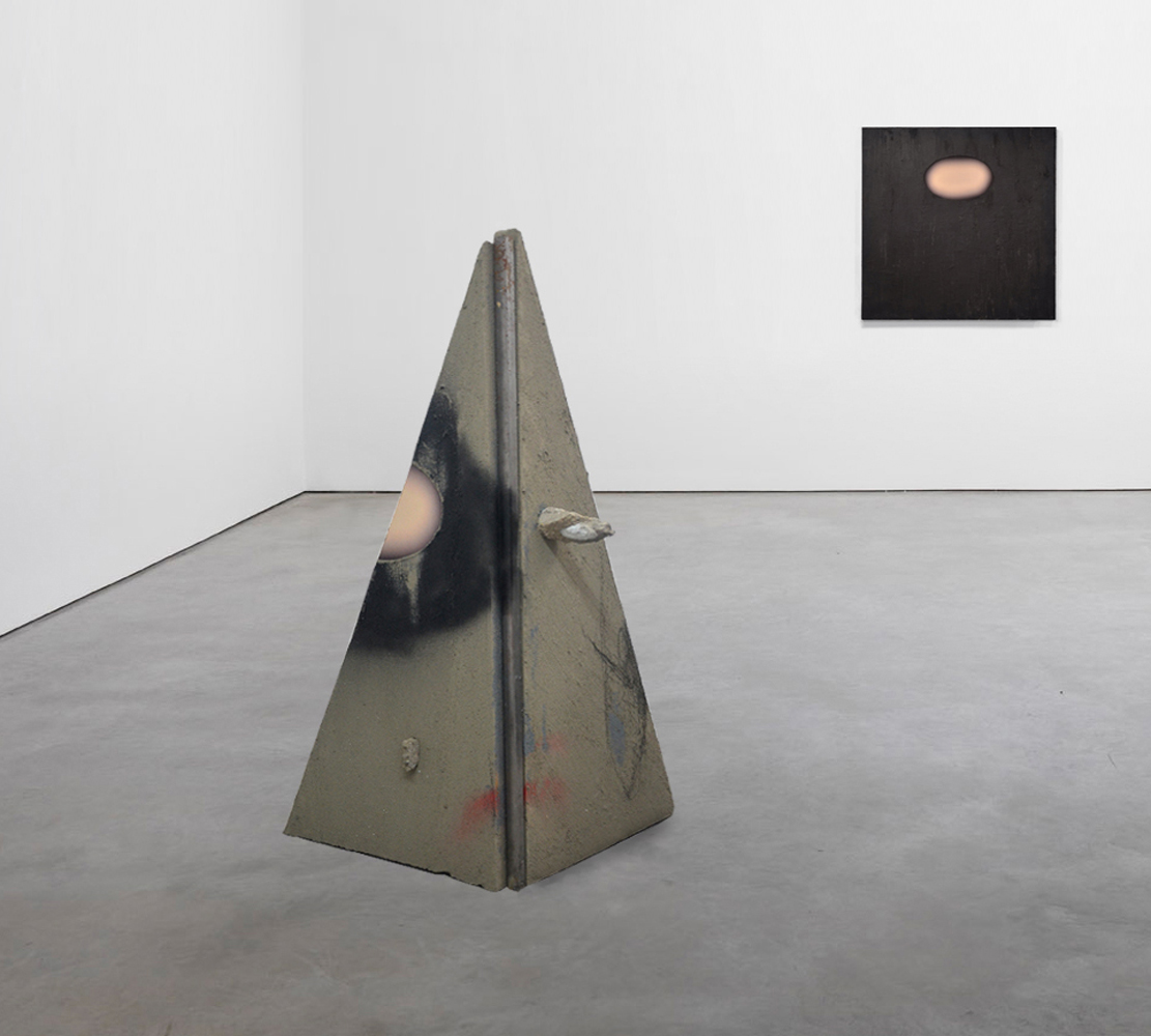 Map for the Temporary Inhabitant: pyramid  (Installation), 2015, and  Wall (black), 2014, Concrete, concrete polymers, C-print, steel; acrylic mediums, C-print, graphite, 49 x 27 x 30 inches; 48 x 48 inches