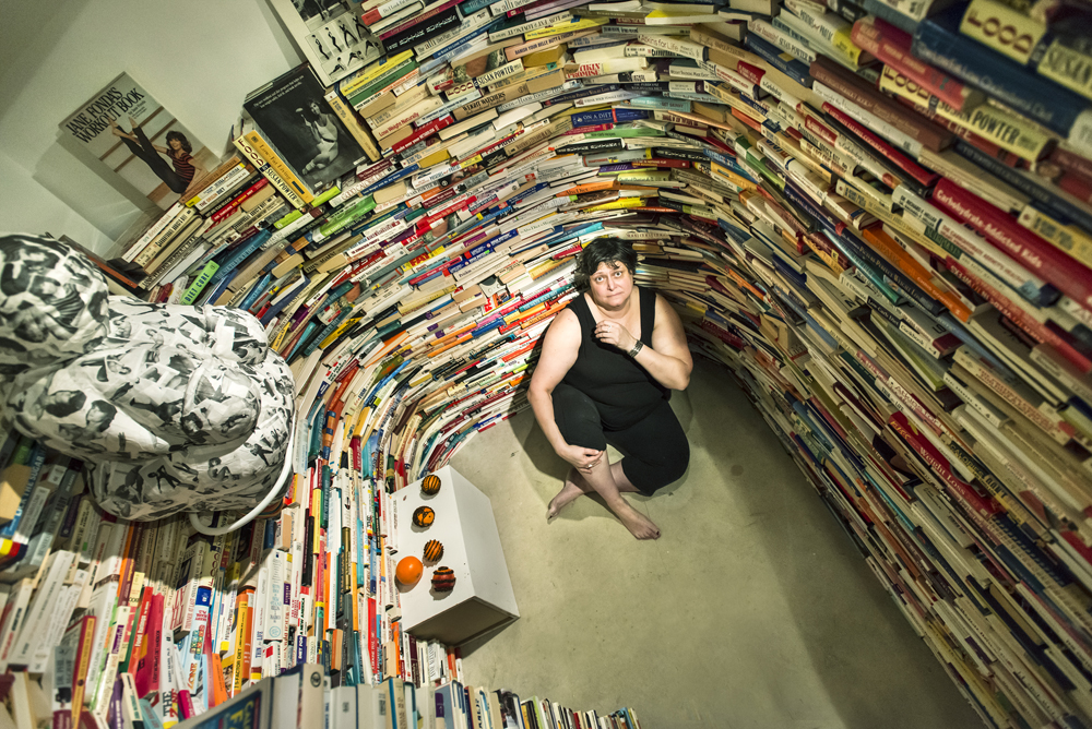Diet Detour (installation), 2013, Maze of 7,000 diet books, audio and olfactory components, Site-specific, dimensions variable