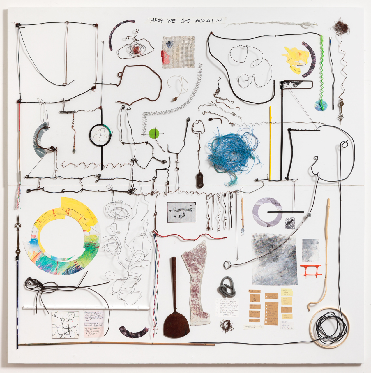 Here We Go Again , 2016, Wood, wire, paper, acrylic, and misc. found objects on birch plywood, 54 x 54 inches. Photo by Jeanette May